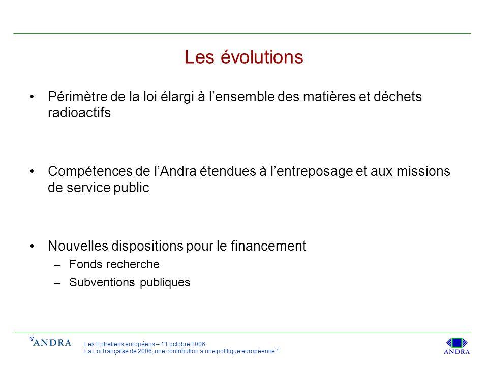 © Les Entretiens européens – 11 octobre 2006 La Loi française de 2006, une contribution à une politique européenne? Les évolutions Périmètre de la loi