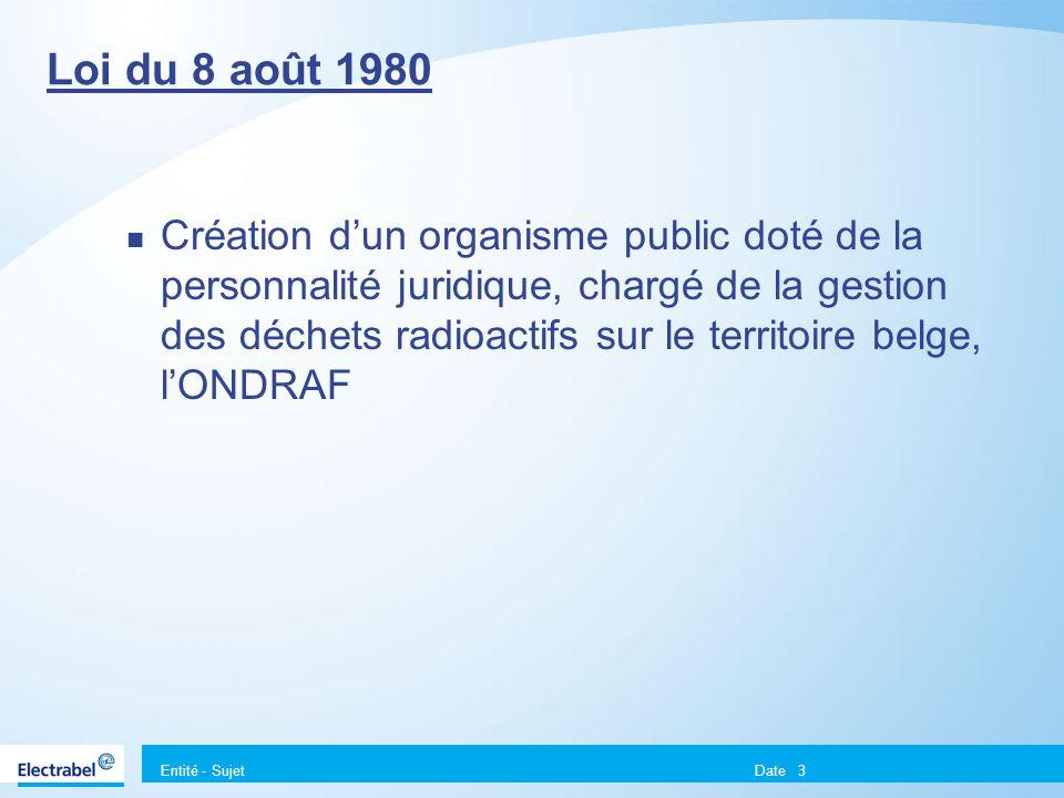 Entité - Sujet Date3 Loi du 8 août 1980 Création dun organisme public doté de la personnalité juridique, chargé de la gestion des déchets radioactifs sur le territoire belge, lONDRAF