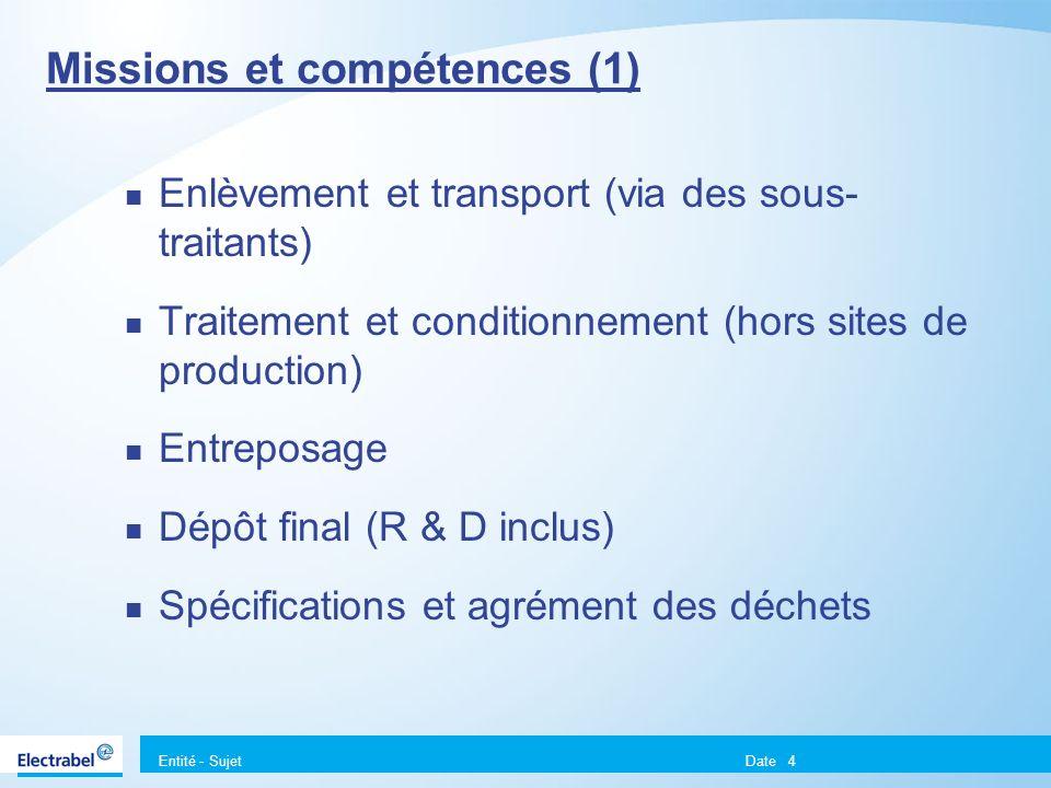 Entité - Sujet Date4 Missions et compétences (1) Enlèvement et transport (via des sous- traitants) Traitement et conditionnement (hors sites de produc