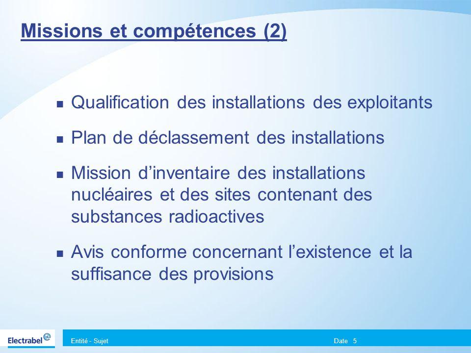 Entité - Sujet Date5 Missions et compétences (2) Qualification des installations des exploitants Plan de déclassement des installations Mission dinven