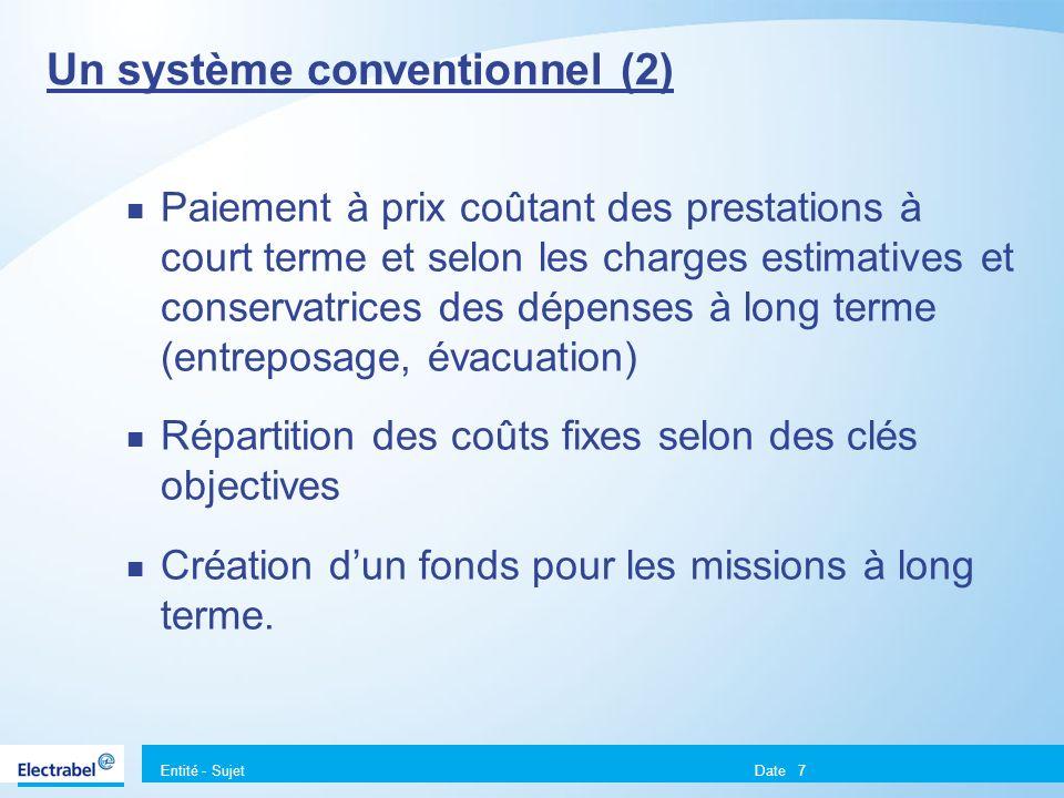 Entité - Sujet Date7 Un système conventionnel (2) Paiement à prix coûtant des prestations à court terme et selon les charges estimatives et conservatr