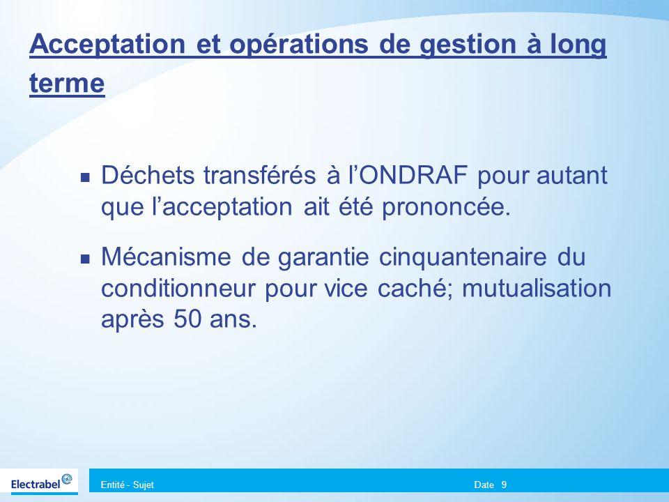 Entité - Sujet Date9 Acceptation et opérations de gestion à long terme Déchets transférés à lONDRAF pour autant que lacceptation ait été prononcée. Mé