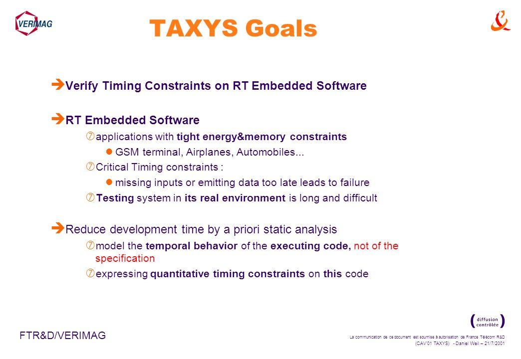 La communication de ce document est soumise à autorisation de France Télécom R&D (CAV01 TAXYS) - Daniel Weil – 21/7/2001 FTR&D/VERIMAG TAXYS Goals è V