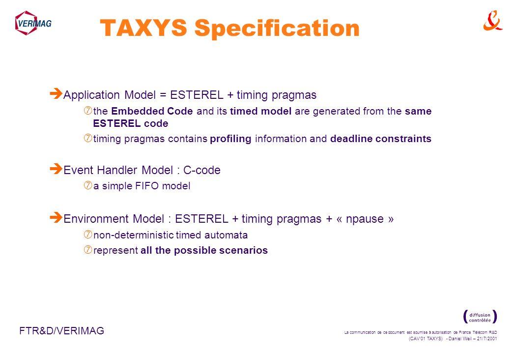 La communication de ce document est soumise à autorisation de France Télécom R&D (CAV01 TAXYS) - Daniel Weil – 21/7/2001 FTR&D/VERIMAG TAXYS Specifica