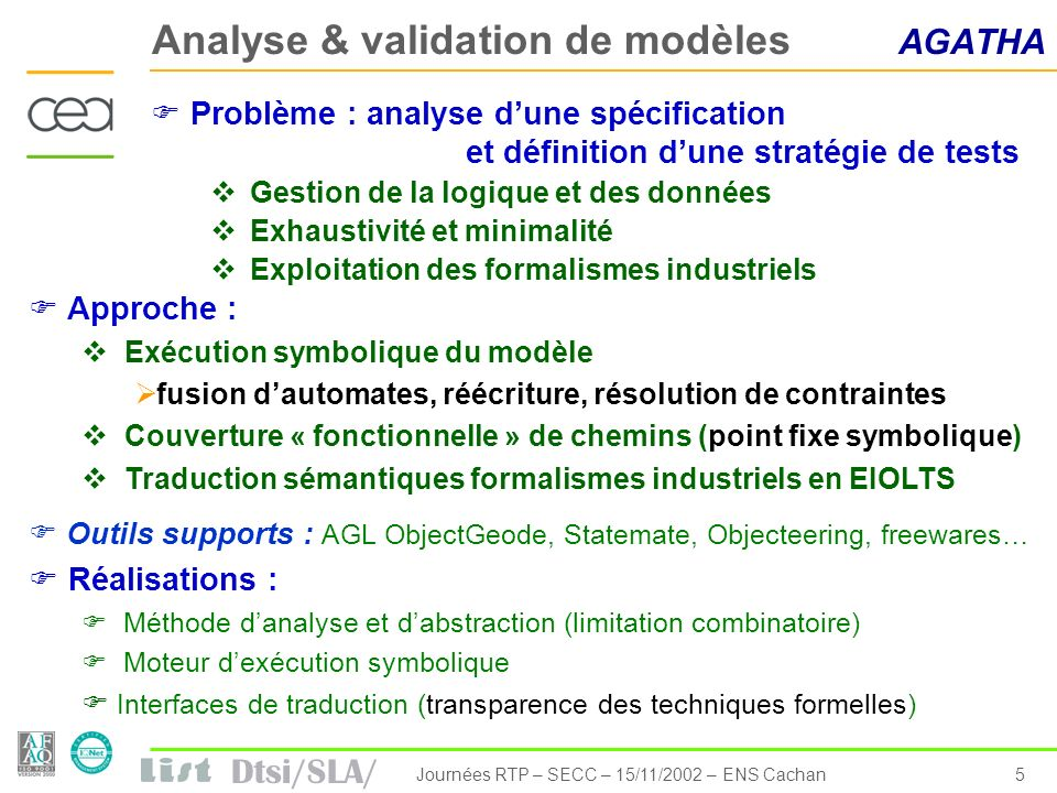 Dtsi/SLA/ 16Journées RTP – SECC – 15/11/2002 – ENS Cachan Same business model with high level concepts to various execution models Multitasking Reg maintain maintainTask StartStopButton sendStartStopSignal sendStartStopSignalTask SpdSens acquire acquireTask Task create start Lock create take releas e MailBox ReplyBox Signal ACCORD Virtual Machine Time Trigered Model OASIS Multithreaded RTO (C++ with RT-OS) Real-Time Objects Reg maintainr SpdSens acquire StartStopButton sendStartStopSignal «RTO» «thread» «RTO» «thread» ACCORD Kernel Synchronous model Loop Reg maintain StartStopButton manageStartStop SpdSens acquire Main SIGNAL/SynDEx Dico Xxxx xxxx Thanks to MDE module definition and development Formalise implementation expertise Build one time implementation procedure reuse for several applications