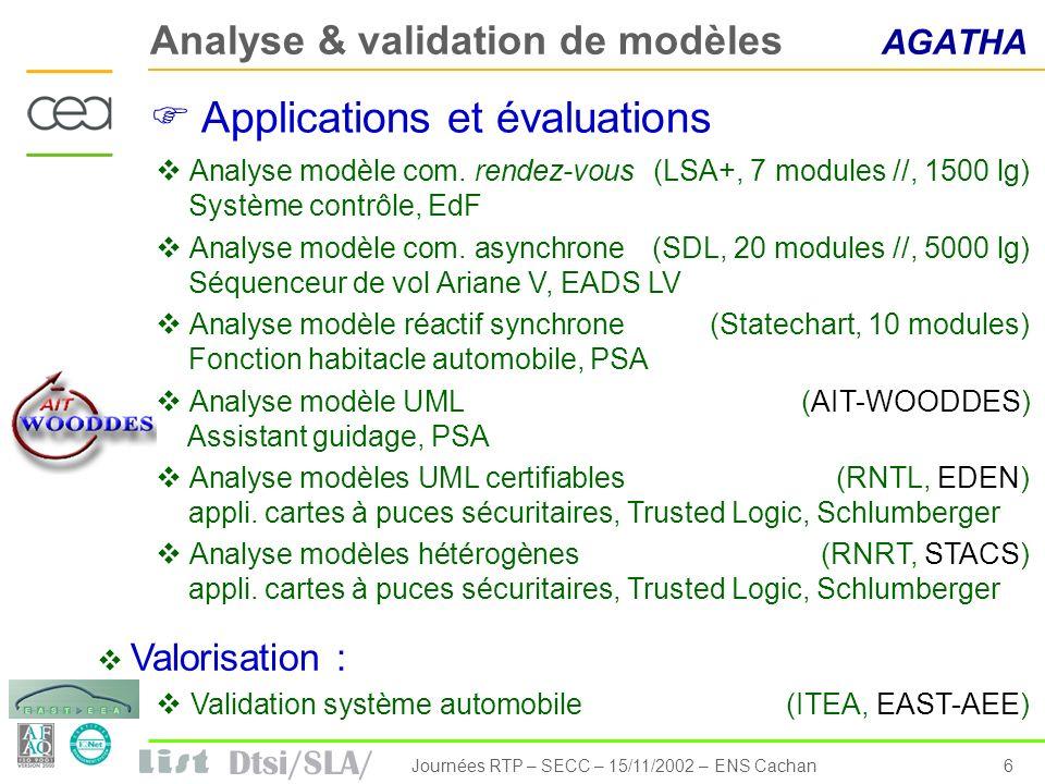 Dtsi/SLA/ 6Journées RTP – SECC – 15/11/2002 – ENS Cachan Analyse & validation de modèles AGATHA Analyse modèle com. rendez-vous(LSA+, 7 modules //, 15