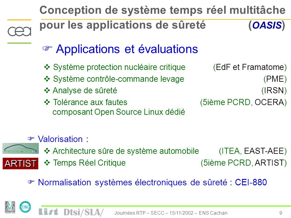 Dtsi/SLA/ 10Journées RTP – SECC – 15/11/2002 – ENS Cachan Ingénierie Dirigée par les Modèles de Systèmes Temps Réel Embarqués MDE means: modeling a system to develop it with a clear separation of implementation technology following a continuous modeling process using intensively models (composition, transformation,synthesis, etc.) No break with current usages.