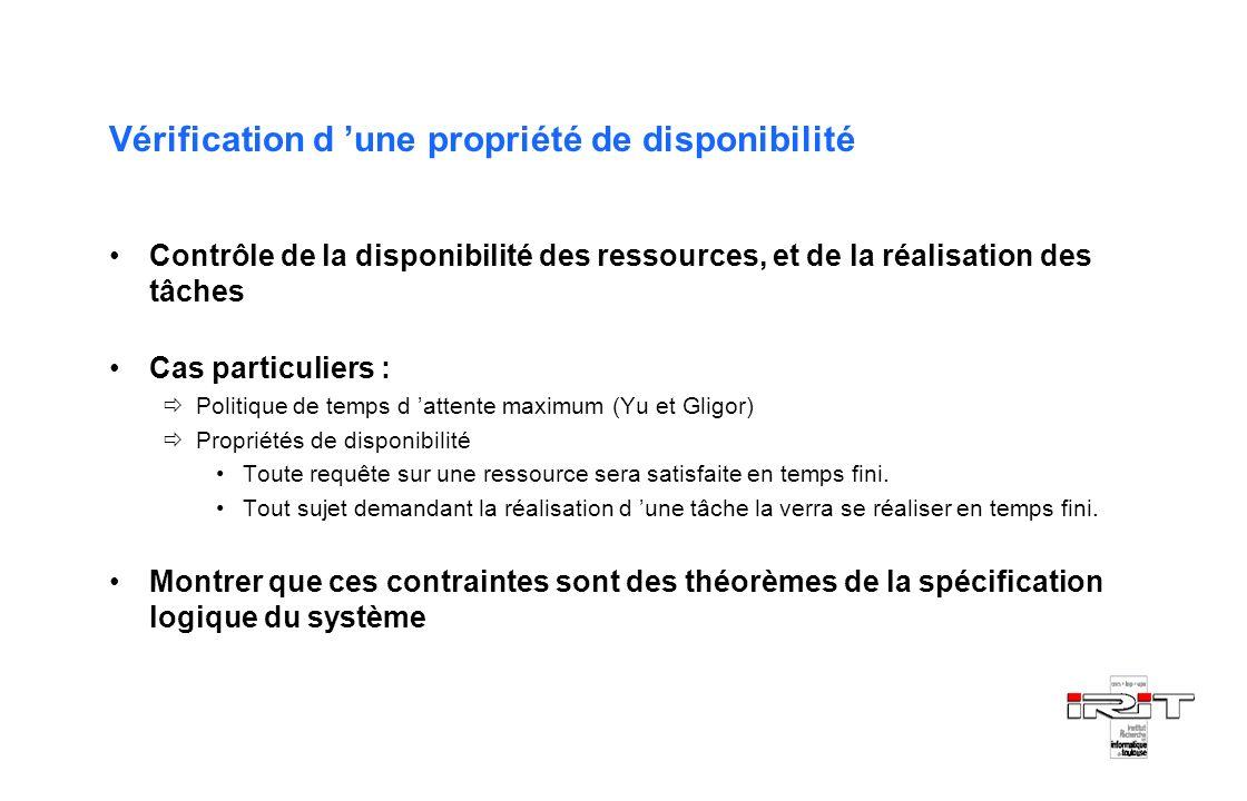Vérification d une propriété de disponibilité Contrôle de la disponibilité des ressources, et de la réalisation des tâches Cas particuliers : Politiqu