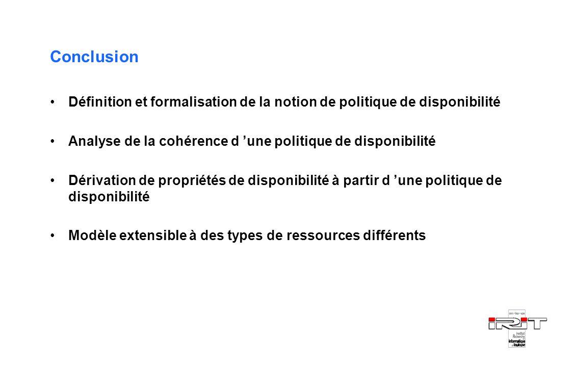 Conclusion Définition et formalisation de la notion de politique de disponibilité Analyse de la cohérence d une politique de disponibilité Dérivation