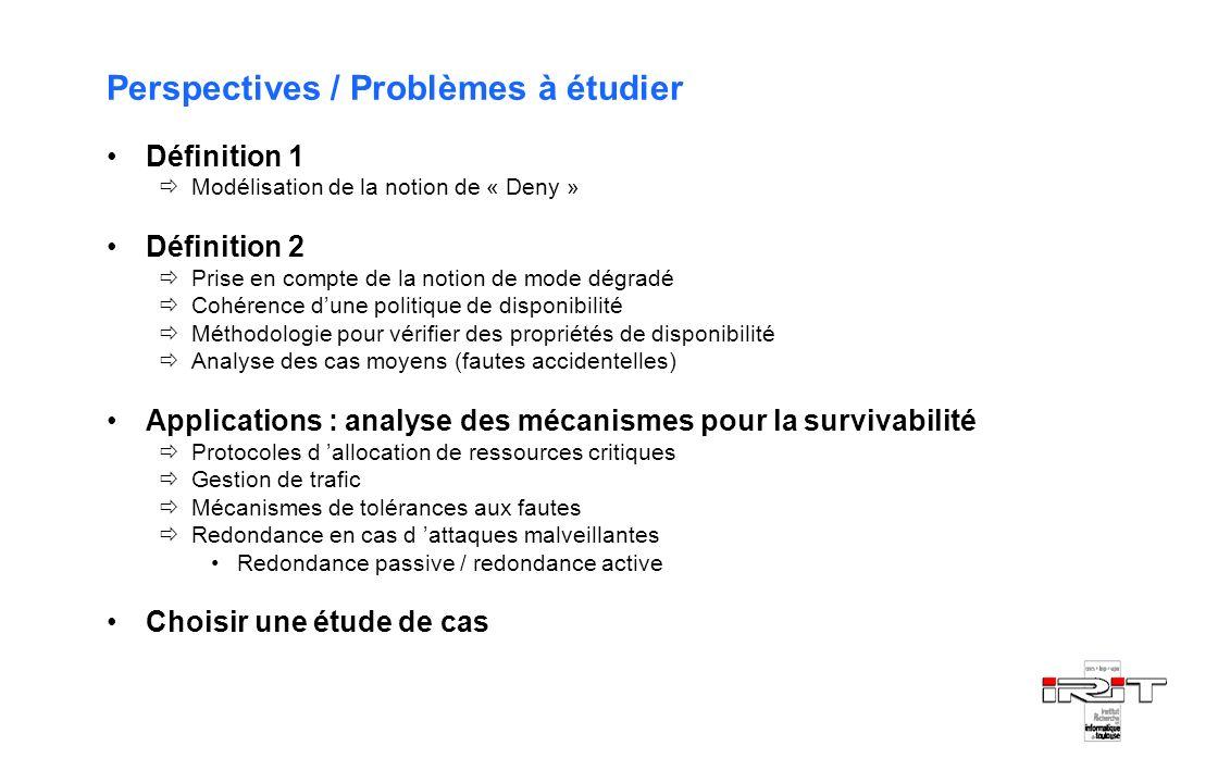Perspectives / Problèmes à étudier Définition 1 Modélisation de la notion de « Deny » Définition 2 Prise en compte de la notion de mode dégradé Cohére