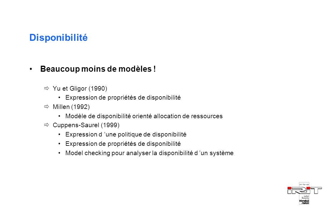 Disponibilité Beaucoup moins de modèles ! Yu et Gligor (1990) Expression de propriétés de disponibilité Millen (1992) Modèle de disponibilité orienté