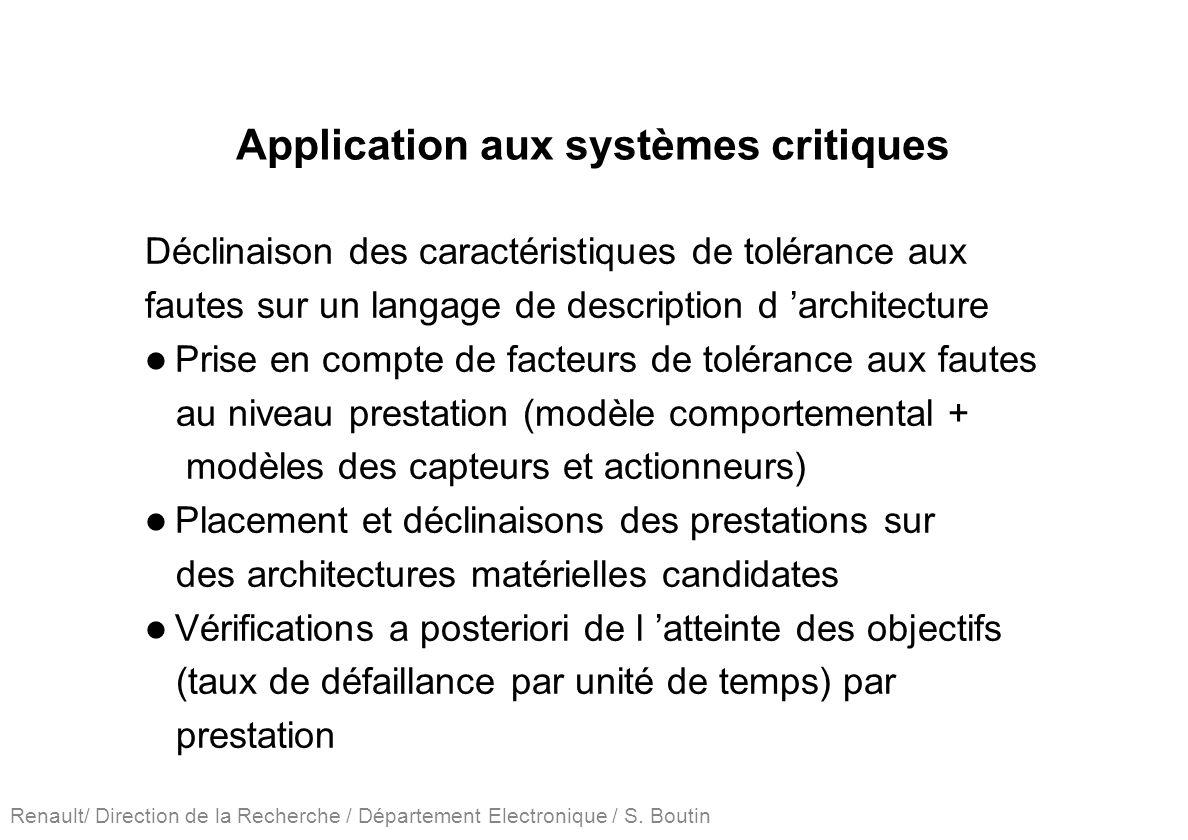 Renault/ Direction de la Recherche / Département Electronique / S. Boutin Application aux systèmes critiques Déclinaison des caractéristiques de tolér