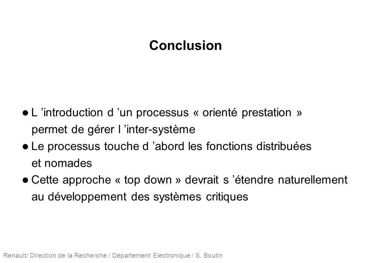 Renault/ Direction de la Recherche / Département Electronique / S. Boutin Conclusion L introduction d un processus « orienté prestation » permet de gé