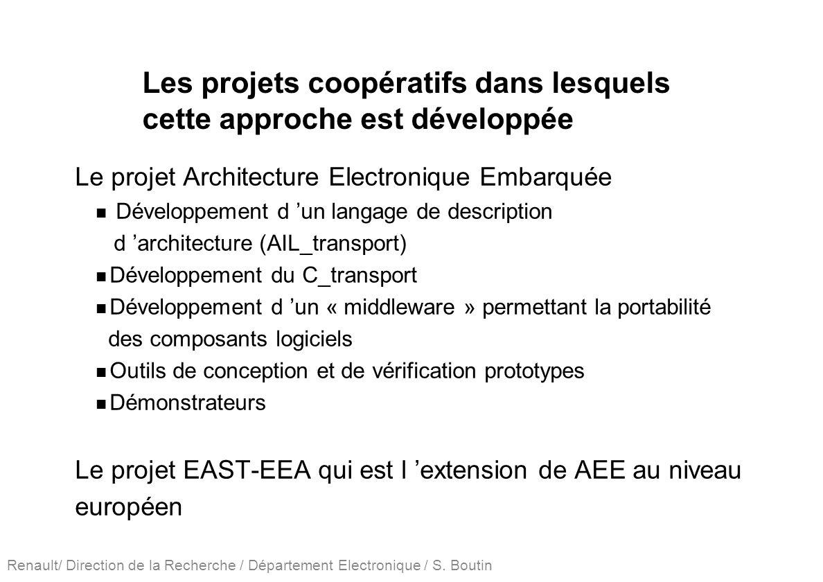 Renault/ Direction de la Recherche / Département Electronique / S. Boutin Les projets coopératifs dans lesquels cette approche est développée Le proje