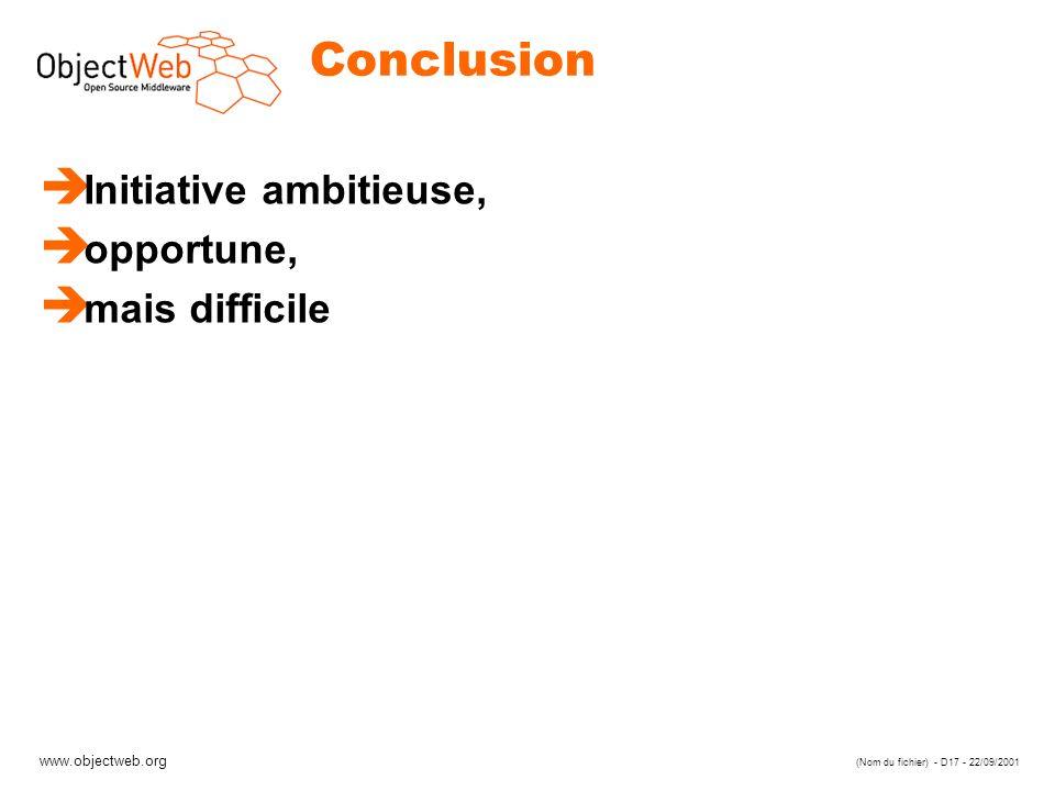 www.objectweb.org (Nom du fichier) - D17 - 22/09/2001 Conclusion è Initiative ambitieuse, è opportune, è mais difficile