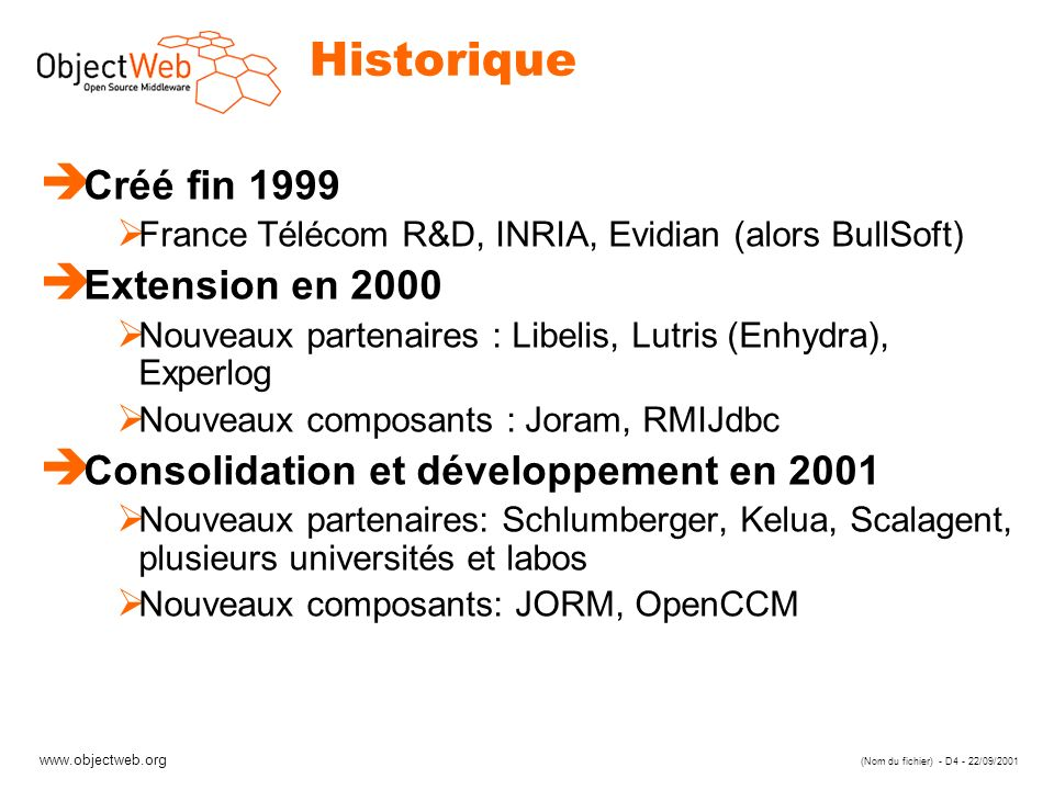 www.objectweb.org (Nom du fichier) - D4 - 22/09/2001 Historique è Créé fin 1999 France Télécom R&D, INRIA, Evidian (alors BullSoft) è Extension en 2000 Nouveaux partenaires : Libelis, Lutris (Enhydra), Experlog Nouveaux composants : Joram, RMIJdbc è Consolidation et développement en 2001 Nouveaux partenaires: Schlumberger, Kelua, Scalagent, plusieurs universités et labos Nouveaux composants: JORM, OpenCCM