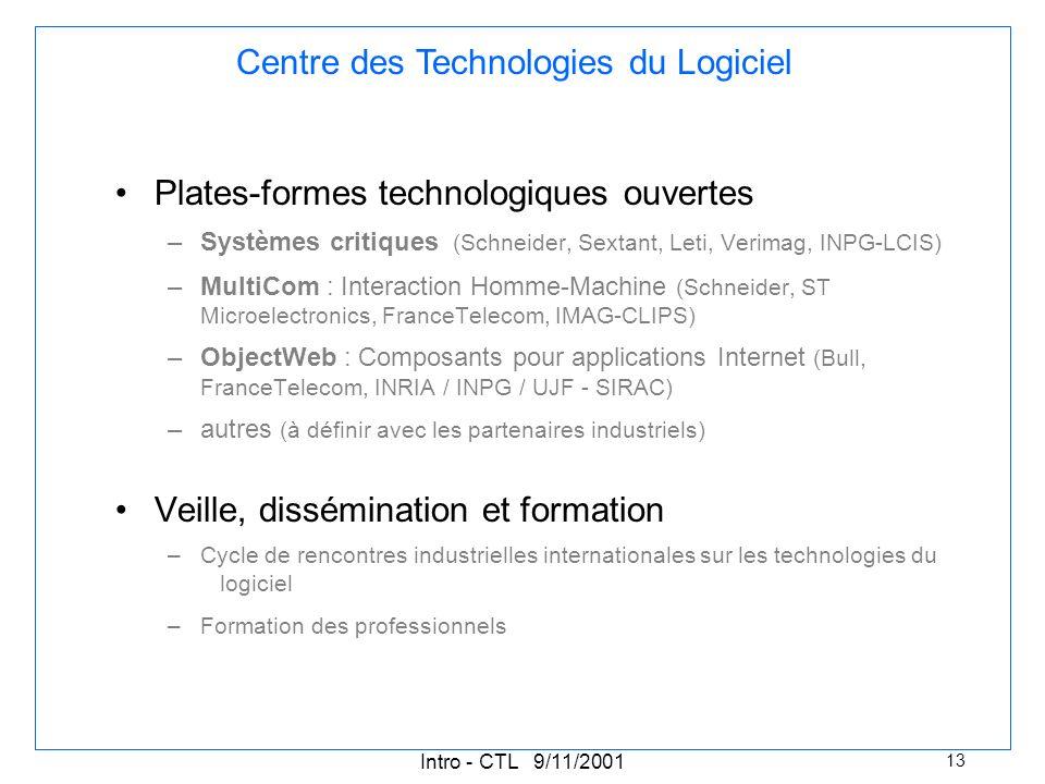 Intro - CTL 9/11/2001 13 Plates-formes technologiques ouvertes –Systèmes critiques (Schneider, Sextant, Leti, Verimag, INPG-LCIS) –MultiCom : Interaction Homme-Machine (Schneider, ST Microelectronics, FranceTelecom, IMAG-CLIPS) –ObjectWeb : Composants pour applications Internet (Bull, FranceTelecom, INRIA / INPG / UJF - SIRAC) –autres (à définir avec les partenaires industriels) Veille, dissémination et formation –Cycle de rencontres industrielles internationales sur les technologies du logiciel –Formation des professionnels Centre des Technologies du Logiciel