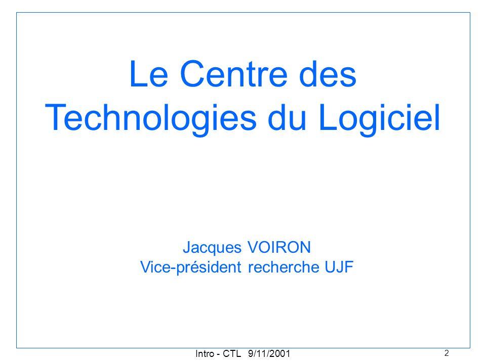 Intro - CTL 9/11/2001 2 Le Centre des Technologies du Logiciel Jacques VOIRON Vice-président recherche UJF