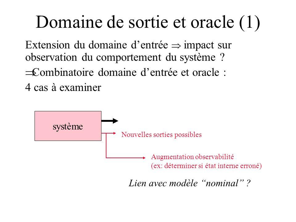 Domaine de sortie et oracle (1) Extension du domaine dentrée impact sur observation du comportement du système ? Combinatoire domaine dentrée et oracl