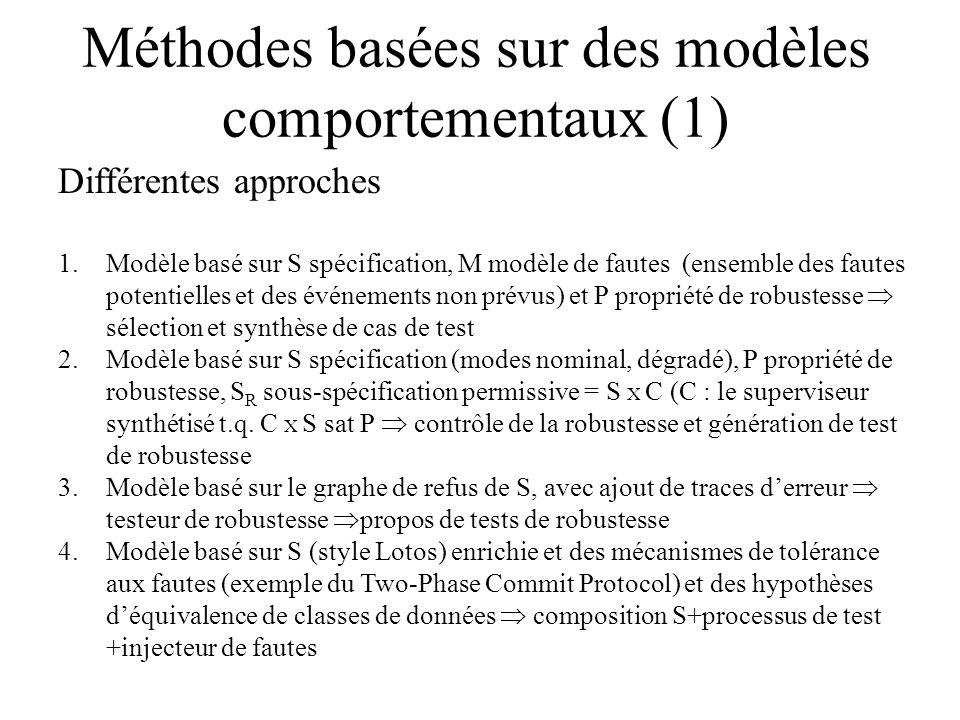 Méthodes basées sur des modèles comportementaux (1) Différentes approches 1.Modèle basé sur S spécification, M modèle de fautes (ensemble des fautes p