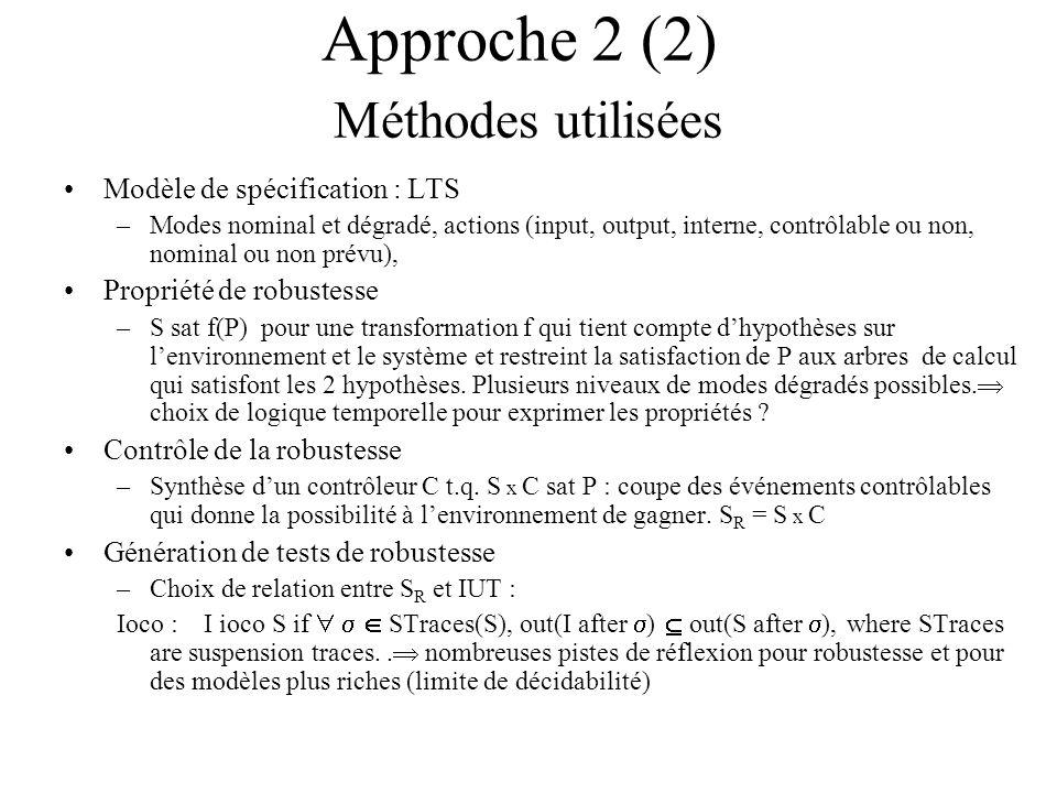 Approche 2 (2) Méthodes utilisées Modèle de spécification : LTS –Modes nominal et dégradé, actions (input, output, interne, contrôlable ou non, nomina
