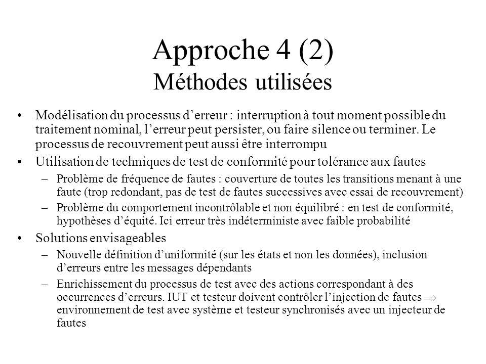 Approche 4 (2) Méthodes utilisées Modélisation du processus derreur : interruption à tout moment possible du traitement nominal, lerreur peut persiste