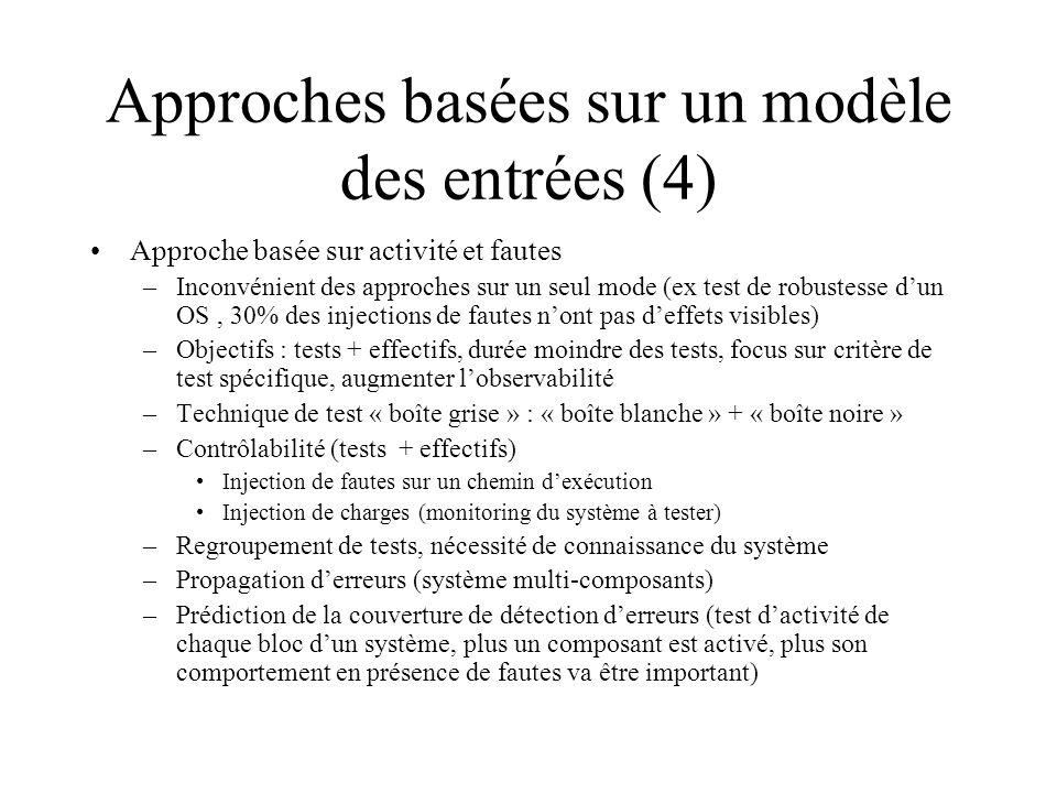 Approches basées sur un modèle des entrées (4) Approche basée sur activité et fautes –Inconvénient des approches sur un seul mode (ex test de robustes