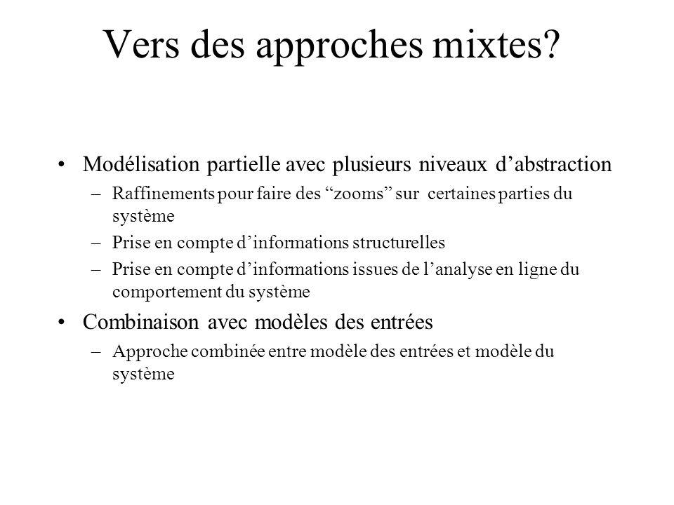 Vers des approches mixtes? Modélisation partielle avec plusieurs niveaux dabstraction –Raffinements pour faire des zooms sur certaines parties du syst