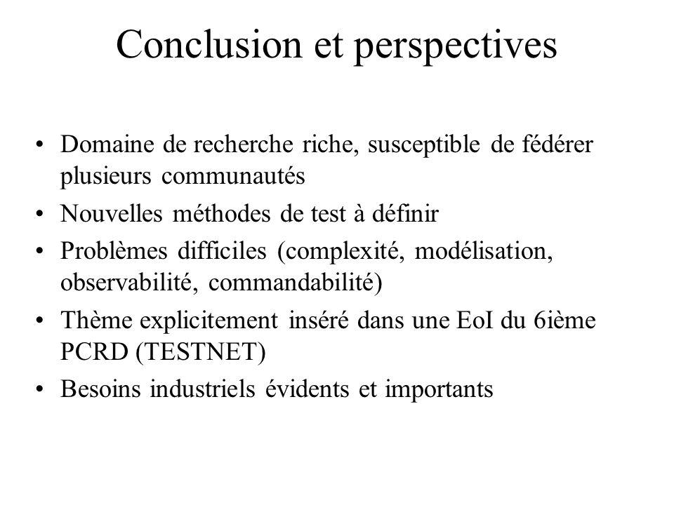 Conclusion et perspectives Domaine de recherche riche, susceptible de fédérer plusieurs communautés Nouvelles méthodes de test à définir Problèmes dif