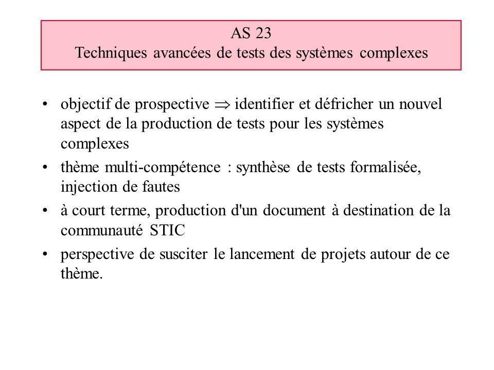 objectif de prospective identifier et défricher un nouvel aspect de la production de tests pour les systèmes complexes thème multi-compétence : synthè