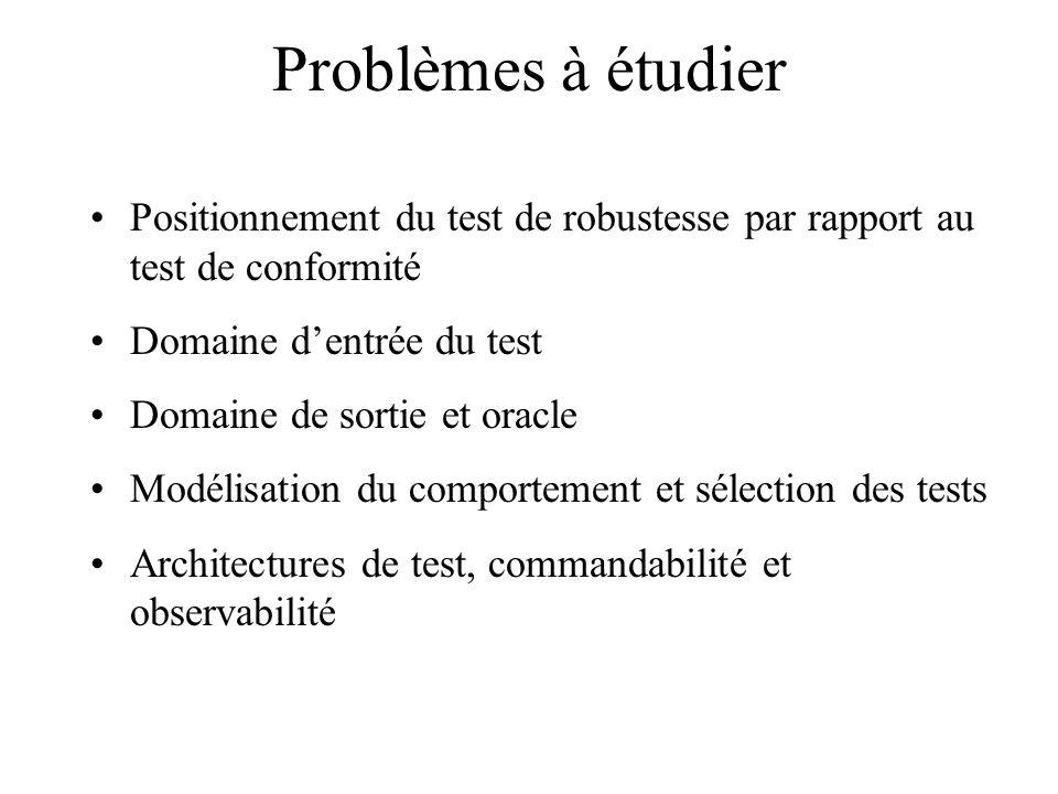 Problèmes à étudier Positionnement du test de robustesse par rapport au test de conformité Domaine dentrée du test Domaine de sortie et oracle Modélis