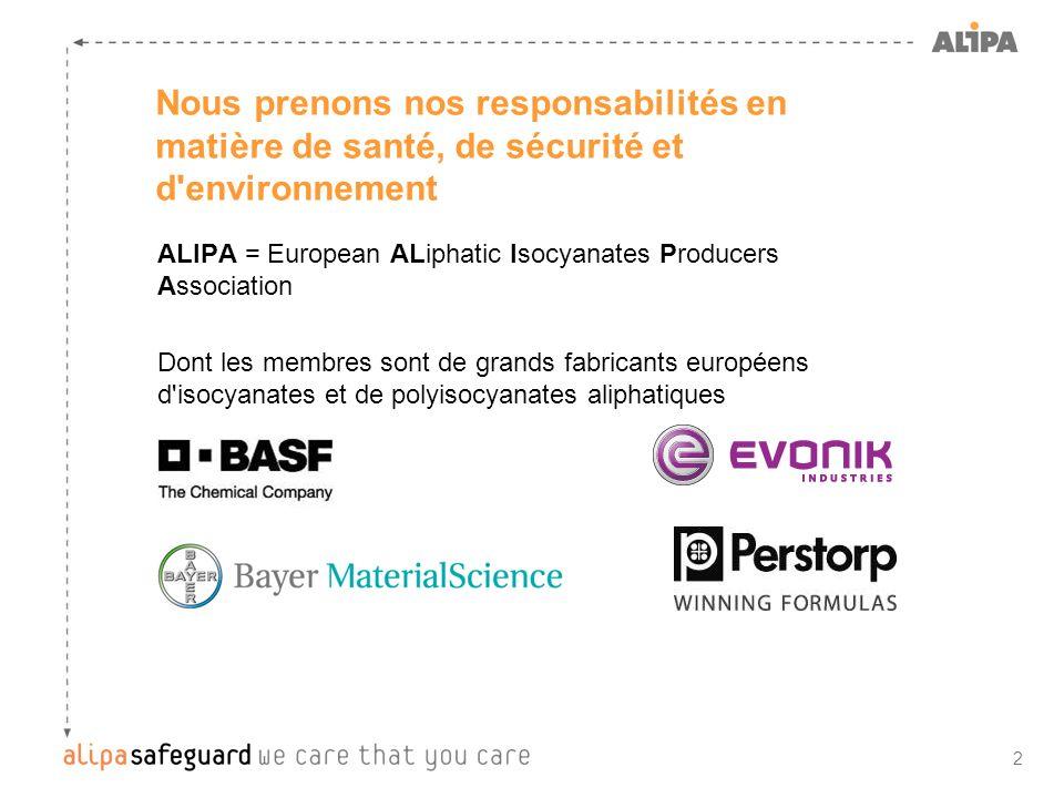2 Nous prenons nos responsabilités en matière de santé, de sécurité et d'environnement ALIPA = European ALiphatic Isocyanates Producers Association Do