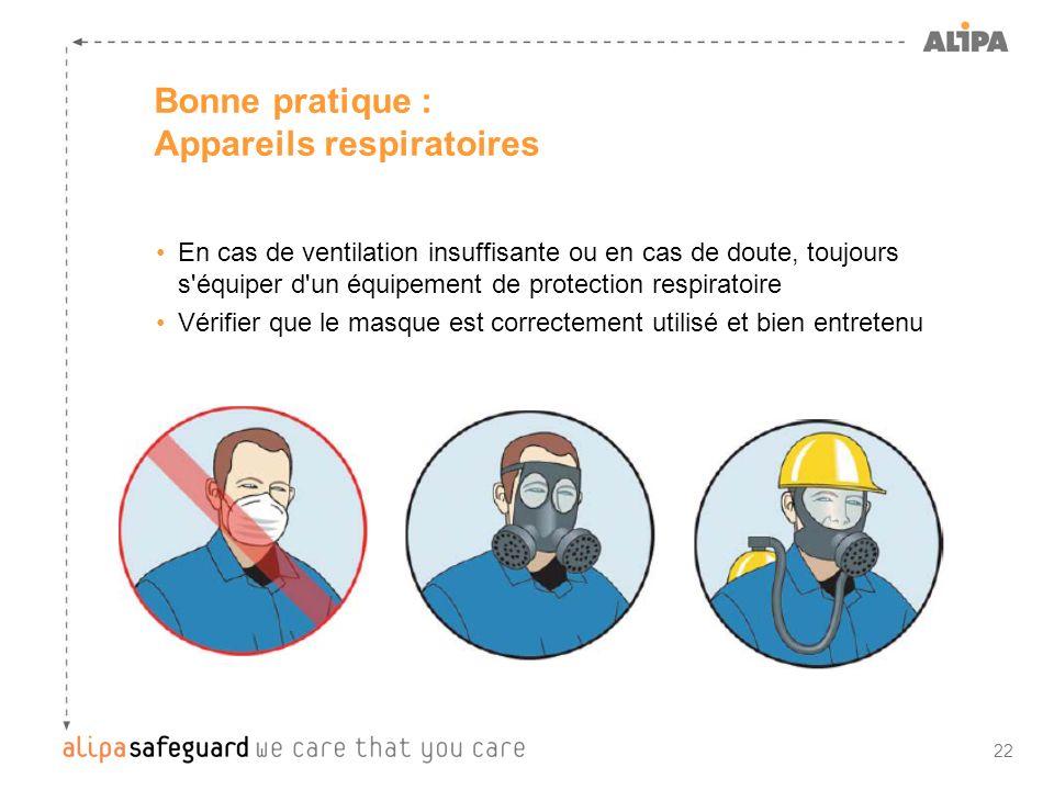 22 Bonne pratique : Appareils respiratoires En cas de ventilation insuffisante ou en cas de doute, toujours s'équiper d'un équipement de protection re
