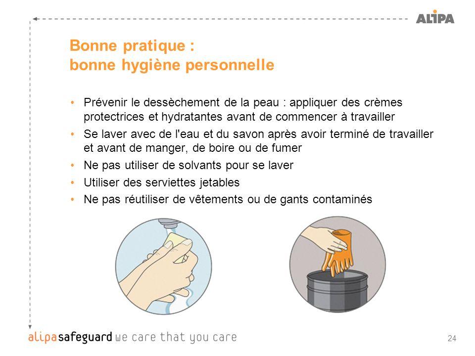 24 Bonne pratique : bonne hygiène personnelle Prévenir le dessèchement de la peau : appliquer des crèmes protectrices et hydratantes avant de commence