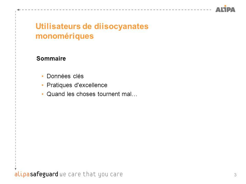3 Utilisateurs de diisocyanates monomériques Sommaire Données clés Pratiques d'excellence Quand les choses tournent mal…