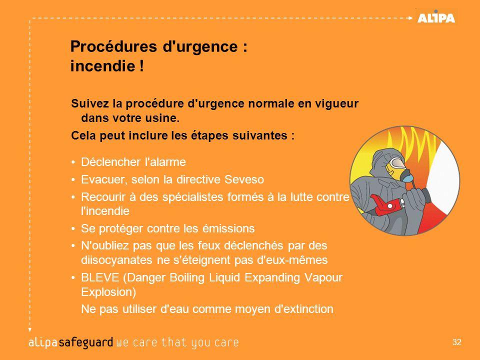 Procédures d'urgence : incendie ! Suivez la procédure d'urgence normale en vigueur dans votre usine. Cela peut inclure les étapes suivantes : Déclench