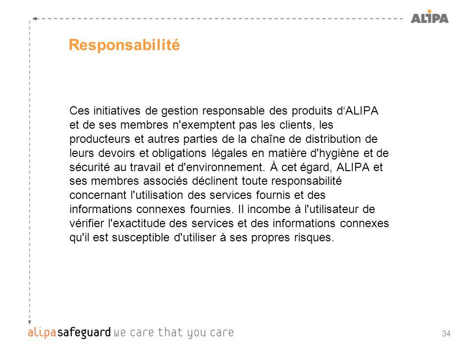 34 Responsabilité Ces initiatives de gestion responsable des produits dALIPA et de ses membres n'exemptent pas les clients, les producteurs et autres