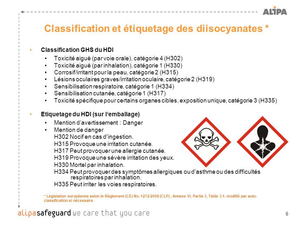 7 Classification et étiquetage des diisocyanates * Classification GHS du H 12 MDI Toxicité aiguë (par inhalation), catégorie 1 (H330) Corrosif/irritant pour la peau, catégorie 2 (H315) Lésions oculaires graves/irritation oculaire, catégorie 2 (H319) Sensibilisation respiratoire, catégorie 1 (H334) Sensibilisation cutanée, catégorie 1 (H317) Toxicité spécifique pour certains organes cibles, exposition unique, catégorie 3 (H335) Etiquetage du H 12 MDI (sur lemballage) Mention davertissement : Danger Mention de danger H315 Provoque une irritation cutanée.