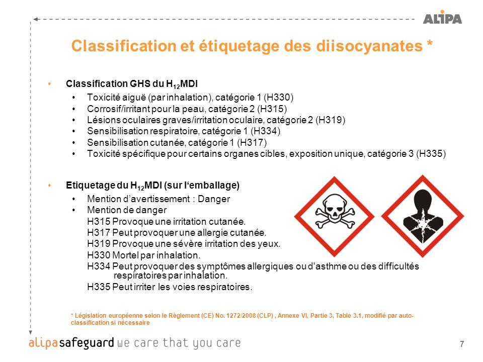 8 Classification GHS de lIPDI Toxicité aiguë (par inhalation), catégorie 1 (H330) Corrosif/irritant pour la peau, catégorie 2 (H315) Lésions oculaires graves/irritation oculaire, catégorie 2 (H319) Sensibilisation respiratoire, catégorie 1 (H334) Sensibilisation cutanée, catégorie 1 (H317) Toxicité spécifique pour certains organes cibles, exposition unique, catégorie 3 (H335) Dangereux pour le milieu aquatique, danger chronique, catégorie 2 (H411) Etiquetage de lIPDI (sur lemballage) Mention davertissement : Danger Mention de danger H315 Provoque une irritation cutanée.