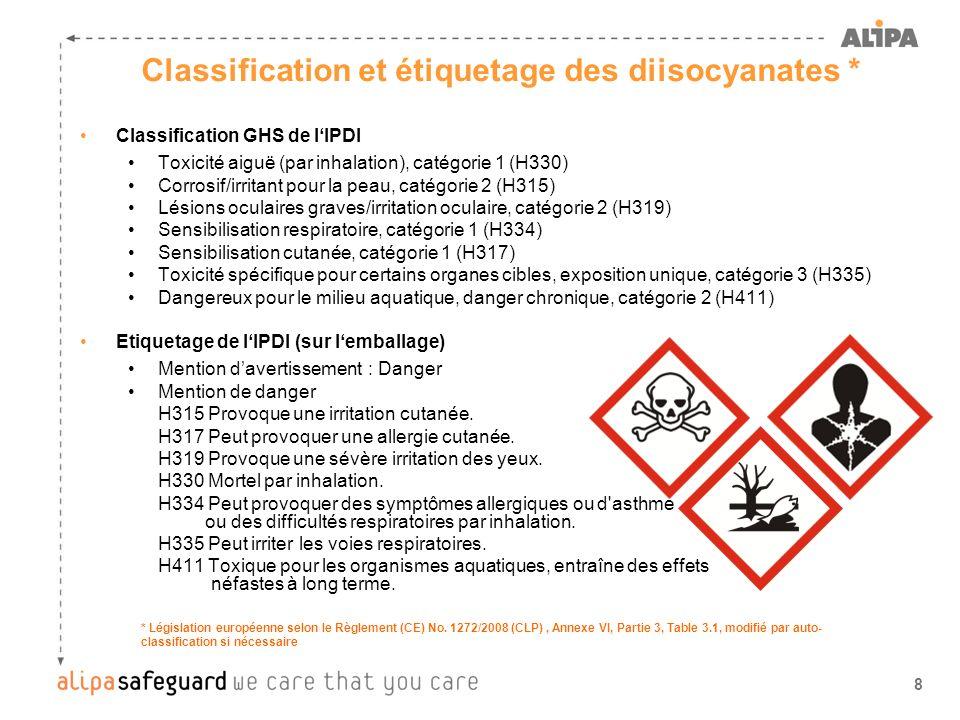 9 Classification DSD du HDI et du H 12 MDI Toxique par inhalation Irritant pour les yeux, les voies respiratoires et la peau Peut entraîner une sensibilisation par inhalation et par contact avec la peau Étiquetage du HDI et du H 12 MDI (sur l emballage) Symbole : T Phrases de risque : R 23-36/37/38-42/43 * Législation européenne selon le Règlement (CE) No.