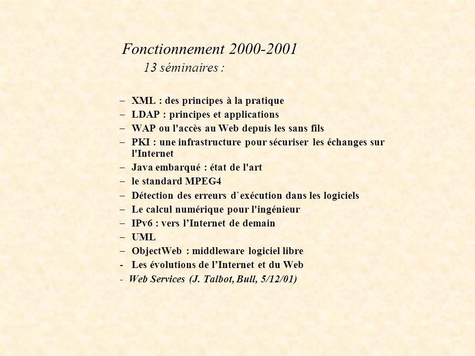 Fonctionnement 2000-2001 13 séminaires : –XML : des principes à la pratique –LDAP : principes et applications –WAP ou l'accès au Web depuis les sans f