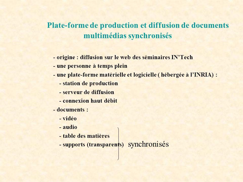 Plate-forme de production et diffusion de documents multimédias synchronisés - origine : diffusion sur le web des séminaires INTech - une personne à t