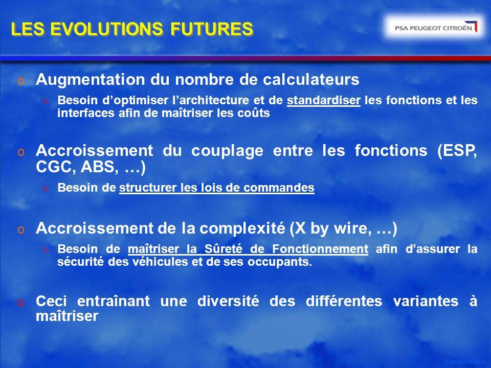 J. Beretta/PSA14 LES EVOLUTIONS FUTURES o Augmentation du nombre de calculateurs Besoin doptimiser larchitecture et de standardiser les fonctions et l