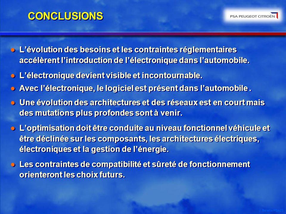 J. Beretta/PSA23 CONCLUSIONS l Lévolution des besoins et les contraintes réglementaires accélèrent lintroduction de lélectronique dans lautomobile. l