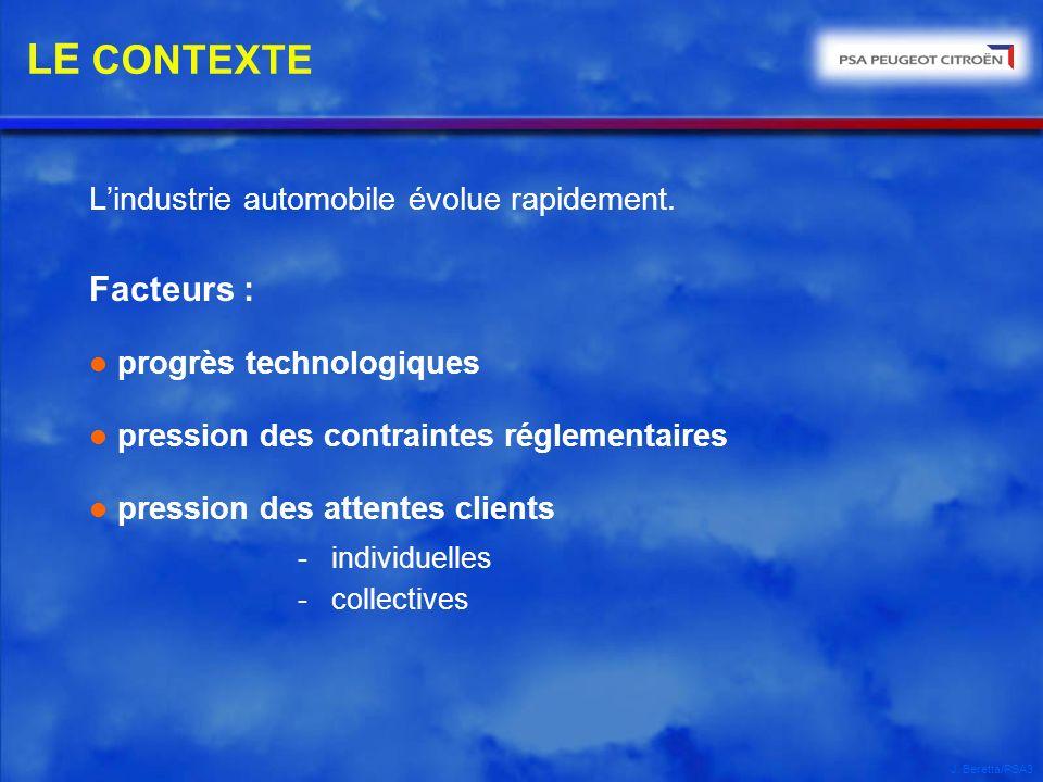 J. Beretta/PSA3 Lindustrie automobile évolue rapidement. Facteurs : l progrès technologiques l pression des contraintes réglementaires l pression des