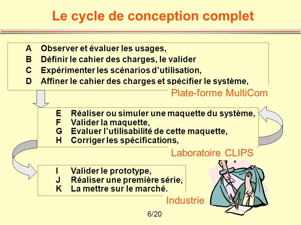 7/20 Les méthodes (1) La simulation : simuler un produit (maquette), simuler une utilisation (magicien dOz), simuler un usage (vidéo)