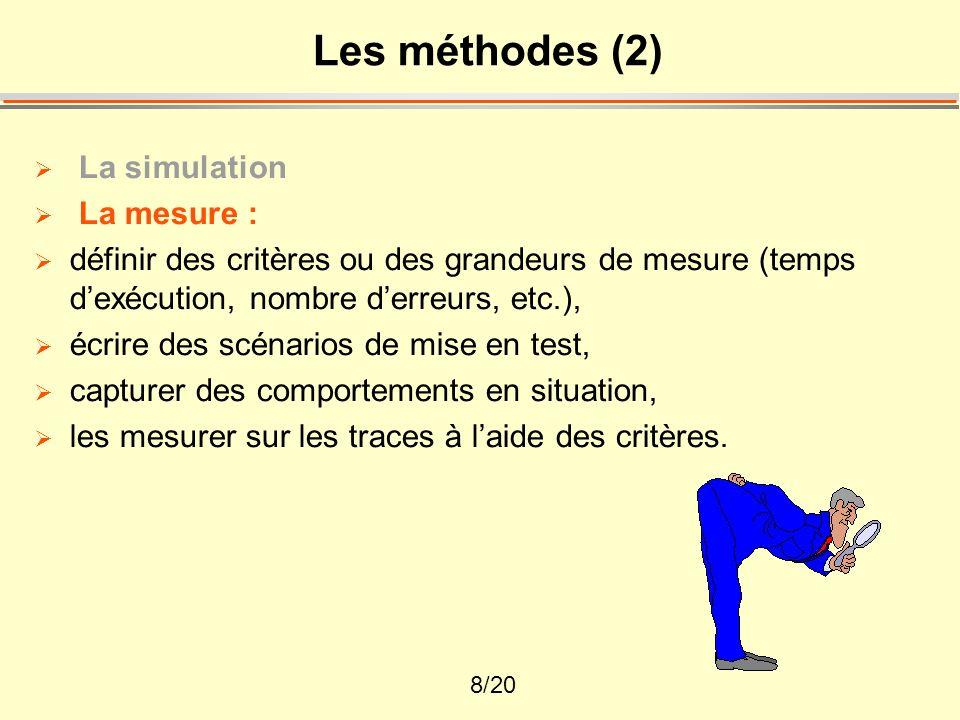 9/20 Les méthodes (3) La simulation La mesure Lanalyse : faire des analyses fonctionnelles ou des analyses de tâche, à partir des mesures comportementales, et des protocoles de verbalisation ou de dialogue, Elle opère à partir de théories cognitives et linguistiques