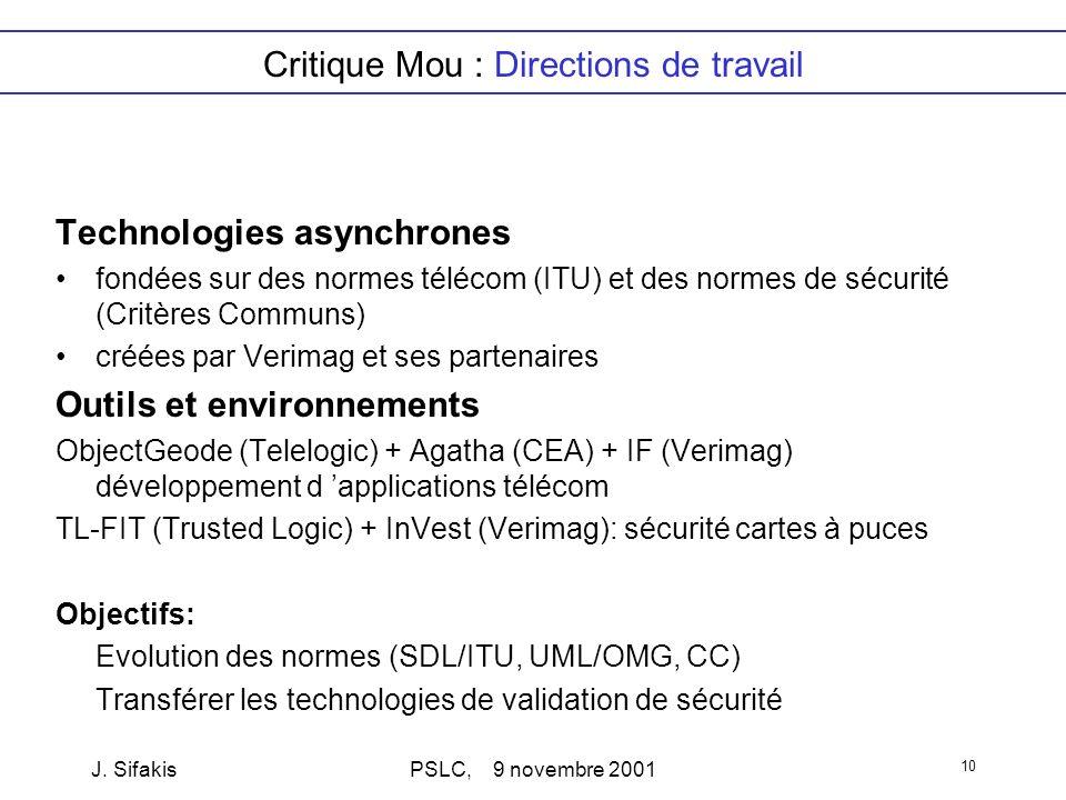 J. SifakisPSLC, 9 novembre 2001 10 Critique Mou : Directions de travail Technologies asynchrones fondées sur des normes télécom (ITU) et des normes de