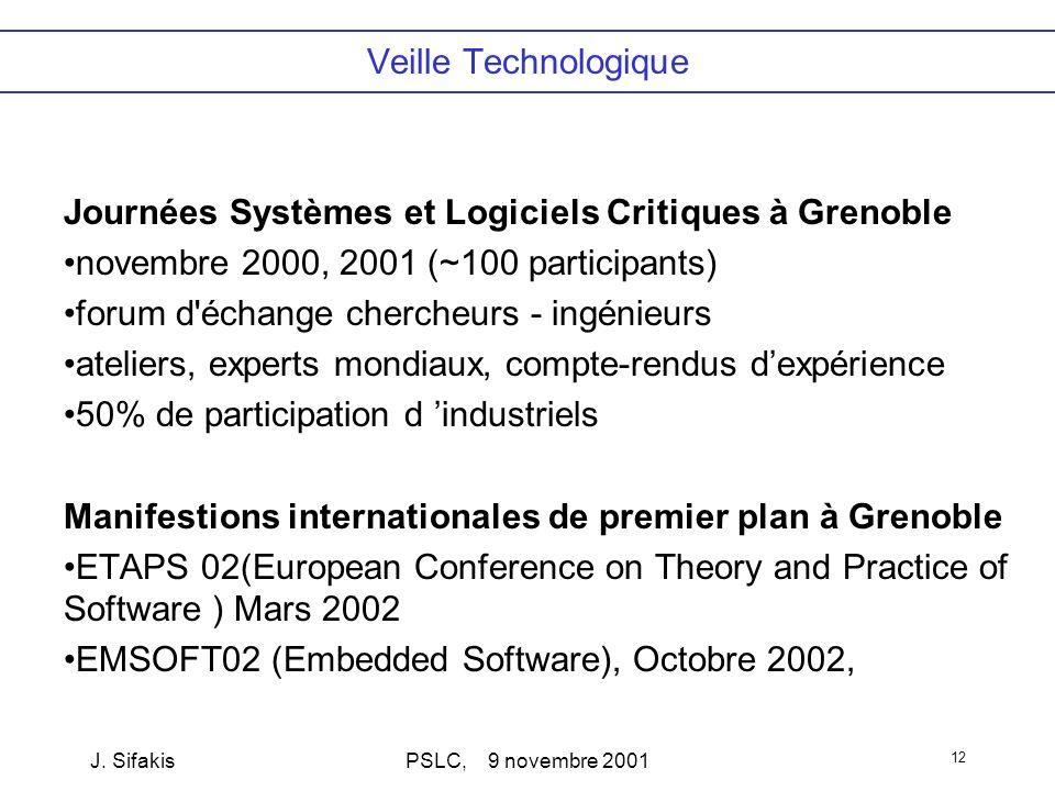 J. SifakisPSLC, 9 novembre 2001 12 Veille Technologique Journées Systèmes et Logiciels Critiques à Grenoble novembre 2000, 2001 (~100 participants) fo