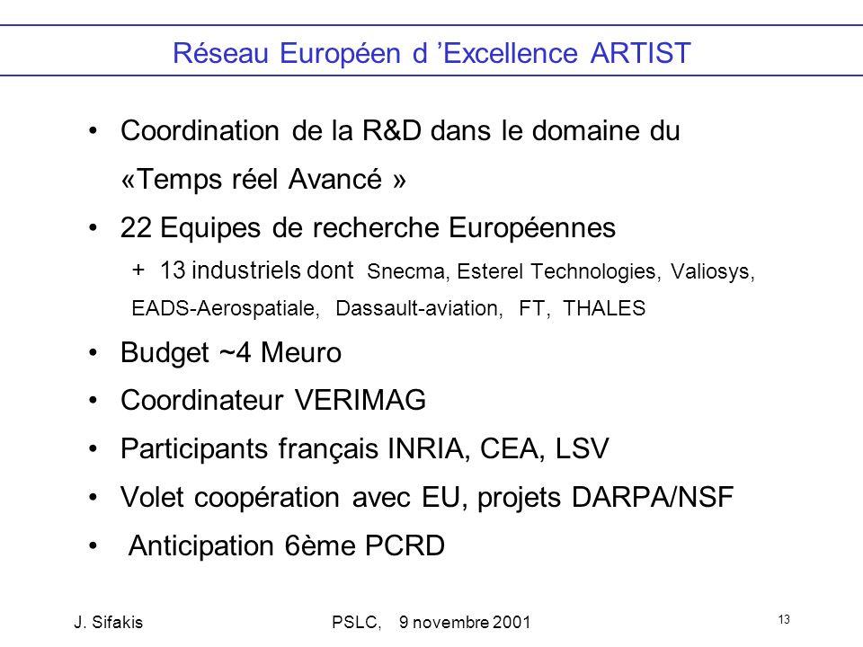J. SifakisPSLC, 9 novembre 2001 13 Réseau Européen d Excellence ARTIST Coordination de la R&D dans le domaine du «Temps réel Avancé » 22 Equipes de re
